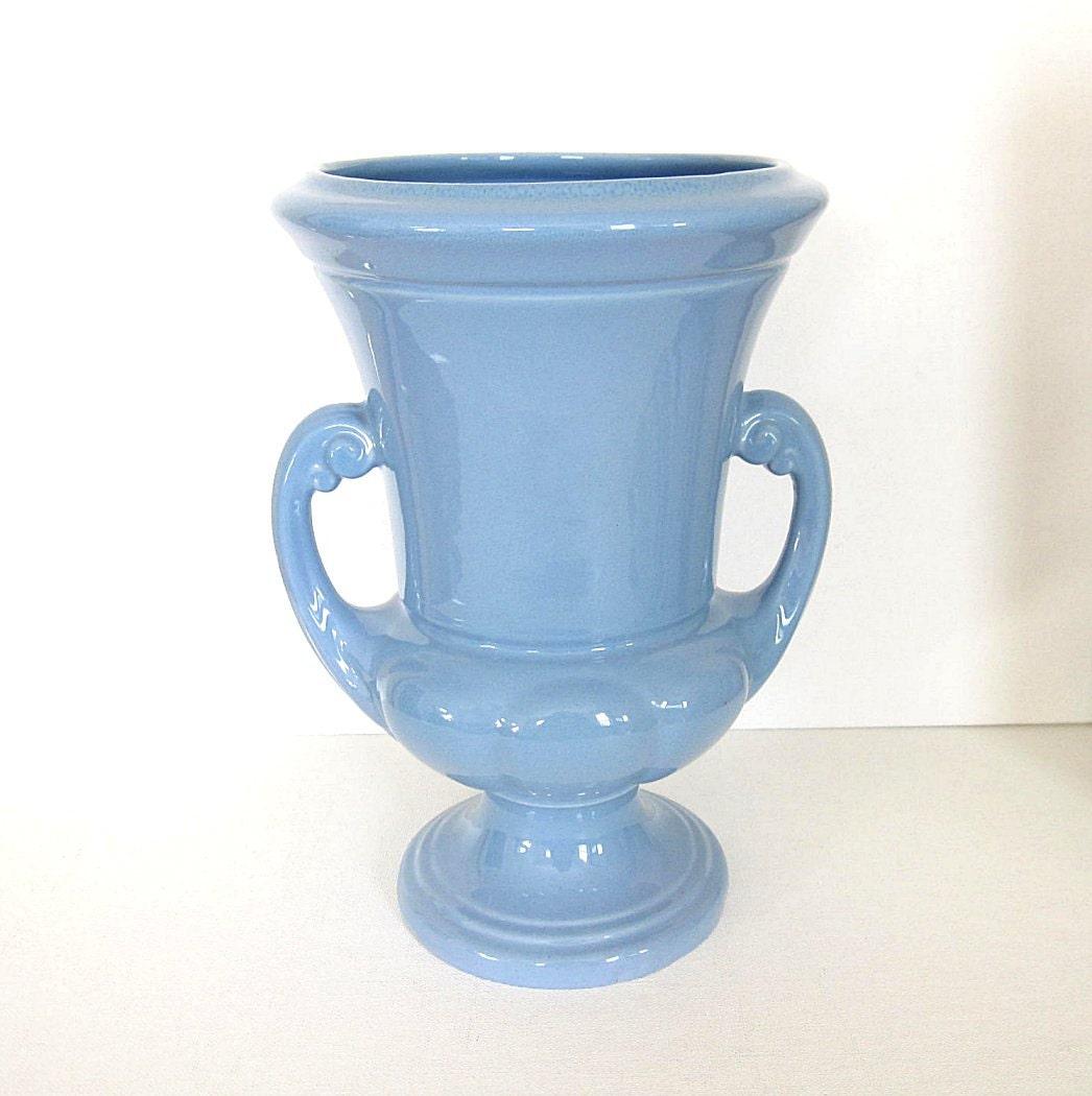 Vintage Abingdon Blue Double Handle Large Vase