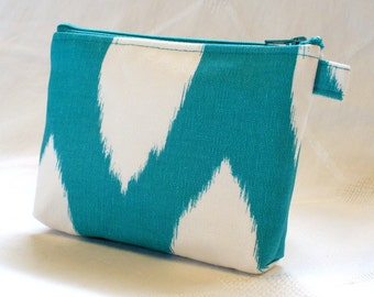 Ikat Cosmetic Bag Makeup Bag Gadget Bag Zipper Pouch Chipper Turquoise Blue White Handmade MTO