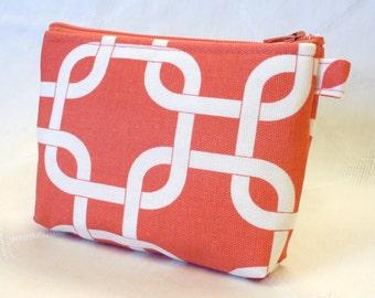 Fabric Gadget Pouch Square Knot Geometric Cosmetic Bag Zipper Pouch Bridesmaid Makeup Bag Cotton Zip Pouch Coral White MTO