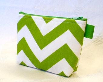 Chevron Fabric  Bridesmaids Cosmetic Bag Zipper Pouch Makeup Bag Gadget Pouch Cotton Zip Pouch Lime Green White MTO