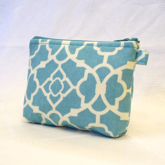 Fabric Gadget Pouch Lattice Pattern Cosmetic Bag Zipper Pouch