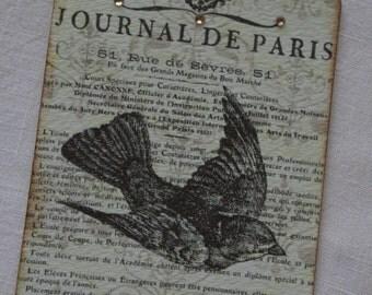Set of 4 Journal De Paris tags with French script and bird, Swarovski rhinestones