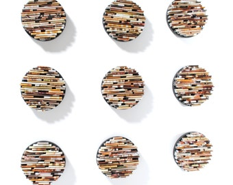 neutral colored round wall art- set of 9- made from recycled magazines, brown, tan, unique