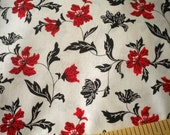 Red Black Flowers Floral Cotton Fabric 2 Yards Goth Gothic Black Plant Stems Black Petals Red Flowers