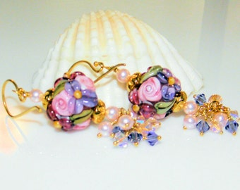 Not just Roses-Handmade Lampwork beads,Vermeil Gold and Swarovski Crystal and pearl  Earrings