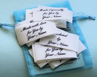 Qty 30 - 1 x 2 Inch Cotton Custom Clothing Fabric Labels