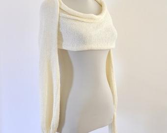 Womens Scarf Sweater Cardigan Wrap Sweater Bridal Shrug Bolero Wedding Jacket Ivory Cream Long Sleeved Bridal Accessories