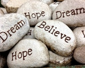 "Inspirational Photography, Typography Word Wall Art, Dream Hope Believe, Rocks With Words Faith Wall Decor Photo 8"" x 12"" - KathyFornal"