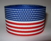 5 yards American Flag Red White & Blue Stripes 1.5 inch width Grosgrain Ribbon Roll 1 1/2