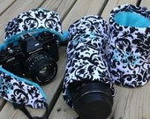 3 Piece DSL Camera Gift Set 2 inch Wide Strap and 2 lens cases in White and Black Damask with Turquoise Minky Dot