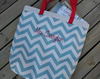 Blue Chevron Teacher Monogrammed Book Bag Tote Bag
