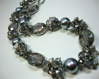 Annie Bold Silver Pearls Silver Crystals Necklace in Silver Bridesmaid Mother of Bride Wedding Jewelry