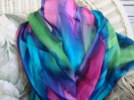 Scarf, Silk, Women, Hand Dyed, Bermuda Triangle Silk Scarf, Blue Lime Purple Turquoise