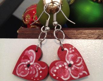 Norwegian rosemaled heart dangle earrings