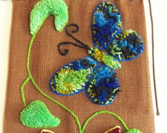 Big, Bright Springtime Yarn Flowers and Butterfly  Wall Hanging  c. 1970
