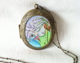 Bird Locket hand painted watercolor illustration necklace