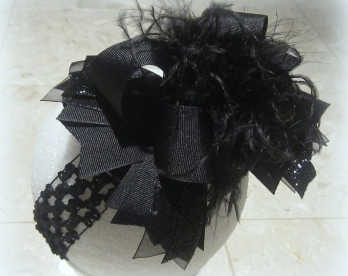 Baby Headbands, Black Over the Top Hairbow, Headbands for babies, Girls Hair Bows, Ostrich Feather Bow, Boutique Hairbow, Pageant Party bow