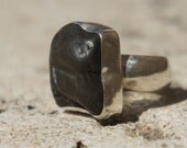 Black River Rock and Silver Ring, black silver ring, black and silver ring