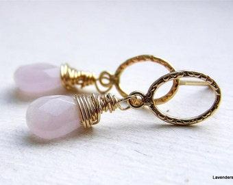 Rose Quartz Earrings , Gold Gemstone Dangle Post Earrings , Circle Studs , Gold Post Earrings , Valentines Day Gift For Her , Love earring