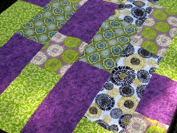 Lap Quilt Lime Purple Green Spirals Quilted Blanket Quilt