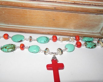 Turquoise and Coral Cross Necklace
