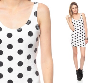 90s Bodycon Dress Mini Black and White Polka Dot LOW BACK 1990s Party Body Con Vintage Scoop Neck Tank Sleeveless Extra Small XS