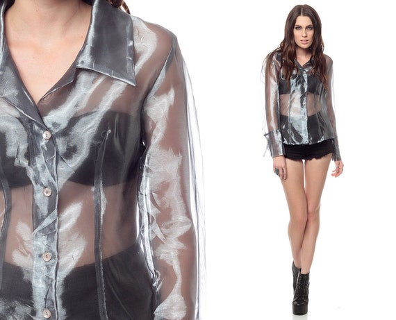 Sheer Blouse With Silver Trim 12