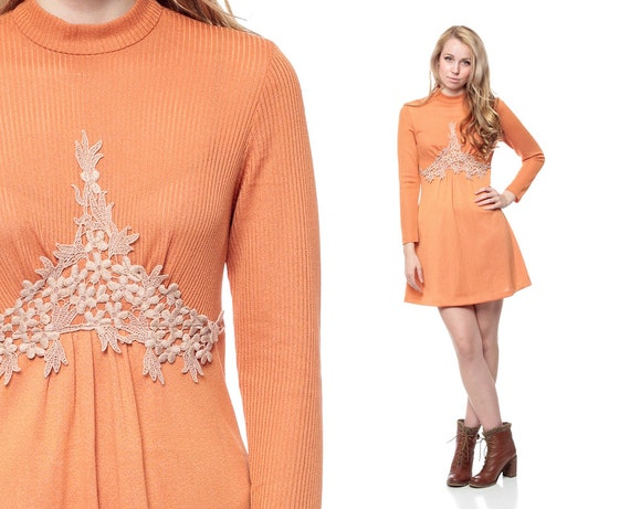 70s Mini Dress CROCHET Boho Orange 1970s Bohemian Chic Empire Waist Floral Applique Long Sleeve Vintage Babydoll Retro Dress Medium