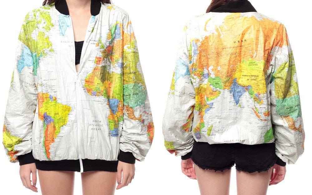 World map jacket 90s tyvek coat ussr white bright kitch 80s length from top of shoulder 27 armpit to armpit 255 waist 17 to 21 world map jacket gumiabroncs Choice Image