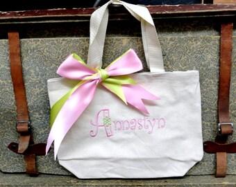 Monogram Personalized Flower Girl Wedding Tote Bag
