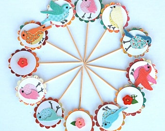 Bird Watching 2 - Cupcake Toppers