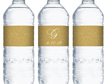 custom water bottle labels waterproof - personalized wedding favor (design10) 8x2 or 8x1.5 inch