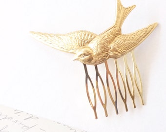 Gold Sparrow Hair Comb - Whimsy - Whimsical - Woodland - Bridal