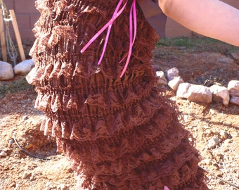 Baby Girl Chocolate Girl's Lace Romper with Pink Flower Headband