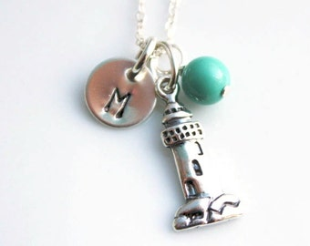 Lighthouse Necklace- Personalized Lighthouse Necklace - Lighthouse Initial Necklace - Custom Lighthouse Necklace - Lighthouse Charm Necklace