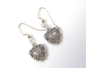 Decorative Hearts Earrings. Mini and dainty pewter charms.