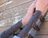 Steampunk Oiled Chocolate Brown Leather Gauntlets or Bracers with Antiqued Brass Hardware