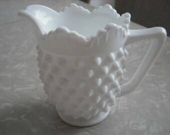 Vintage Fenton Hobnail Pitcher White Milk Glass