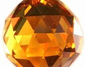 30mm Amber Chandelier Crystal Ball Prism - Faceted FULL LEAD Crystal Ball (S-17)