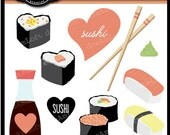 Sushi Love Clip Art Digital great for Valentine's Day