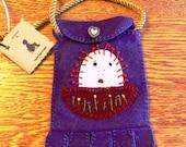 Raggedy Anne Purple Wool Purse/Pouch/Cell Phone Holder  HAFAIR