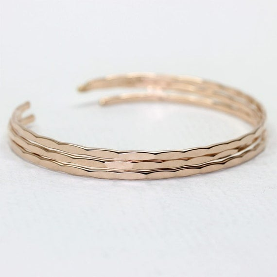 3 Thin Ophelia Cuffs in Rose Gold Fill, custom sized stacking cuffs with free US shipping