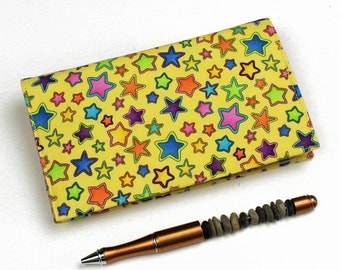 LAST ONE! Stars on Yellow Checkbook Cover for Duplicate Checks with Pen Holder on Cotton Fabric