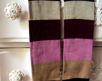 Baby Leg Warmers - Free Shipping,- Stripes- Dark Brown, Tan, Pink, Maroon, Cream