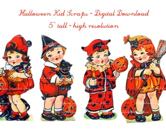 Vintage Halloween Instant Digital Download Printable Scrapbook Tag Image - Four Halloween Kids