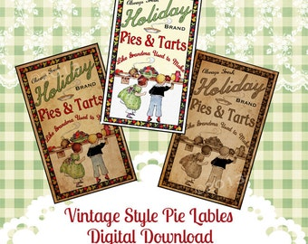 Vintage Tag Christmas Label Digital Download Collage Sheet Pies Tarts Graphics Scrapbook Image