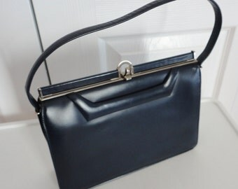 Vintage Navy Leather Like Handbag Purse 70s