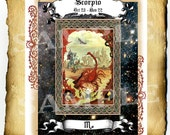 "Digital Graphic ""Scorpio Illuminated"" - Clipart Page, Zodiac Wiccan Pagan BoS Book of Shadows"