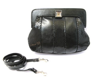 Women's Leather Purse, Evening Leather Purse, Small Leather Purse, Leather Clutch - in Classic Black (No.1070)