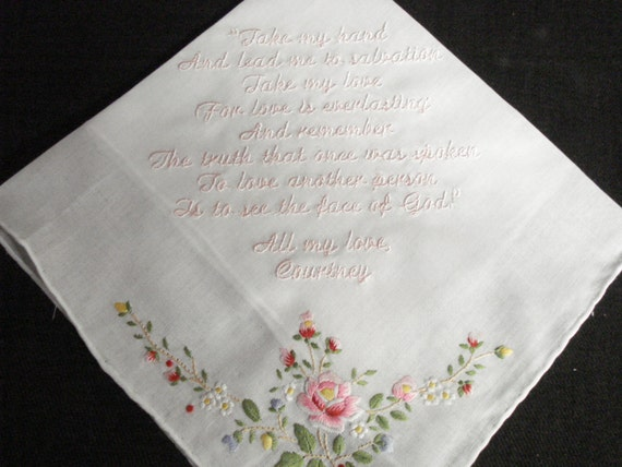 Wedding handkerchief machine embroidered by designsbygloria